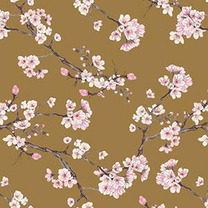 Stoff mit Kirschblüten auf goldenem Hintergrund