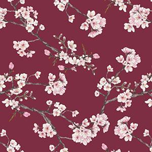 Stoff mit Kirschblüten auf rotem Hintergrund