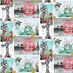 Stoff mit New York Motiven